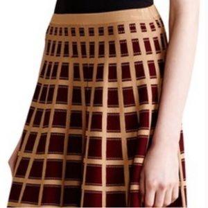 Anthropologie Moth Brown & Tan Checkered Ponte Full Skirt Sz M